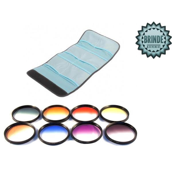 Kit Filtro Cor Gradual 52mm 18-55mm D7000 D5200 D3200 + Nf