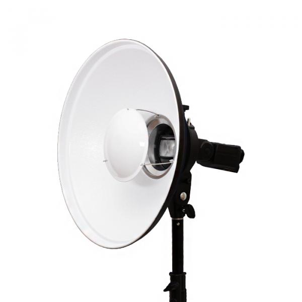 Kit Suporte Flash Speedlight encaixe Bowens + Beauty Dish