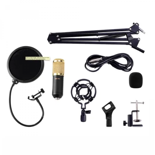 Kit Microfone Bm800 + Braço Articulado + Pop Filter