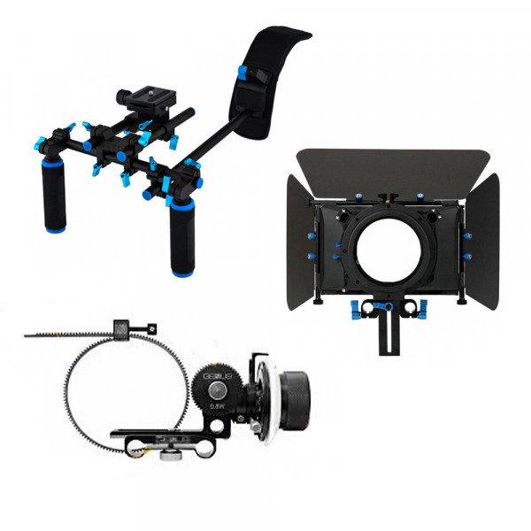 Kit Suporte de ombro Quick Release + Matte Box Follow Focus