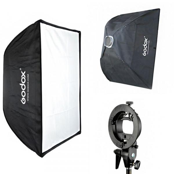 Kit Softbox Godox 60x90 Bowens + Suporte Speedlite