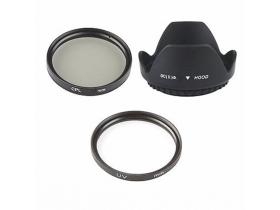 Kit Parasol Filtro Uv Cpl 52mm 18-55mm + Lenspen T5i D7000